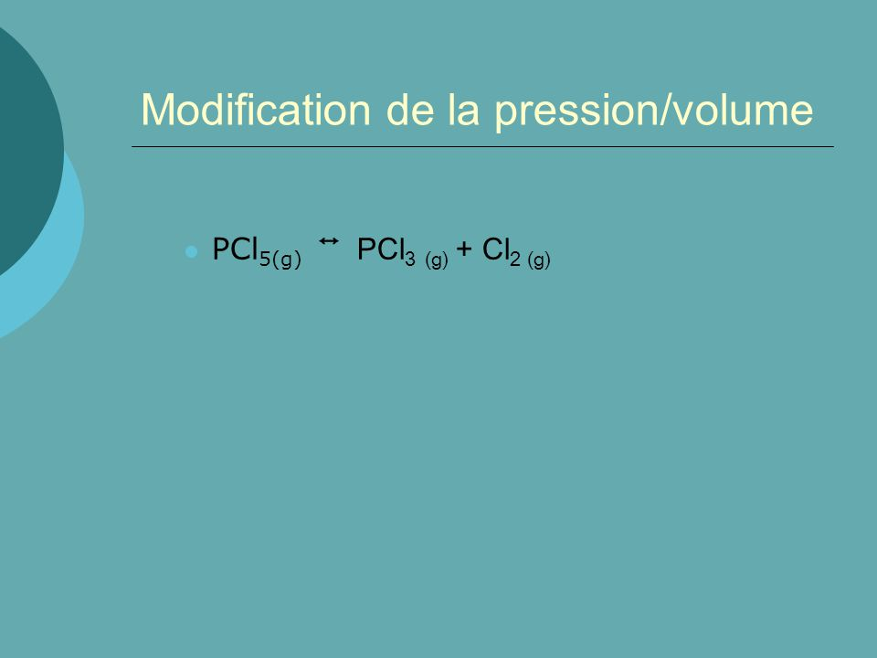 Modification de la pression/volume