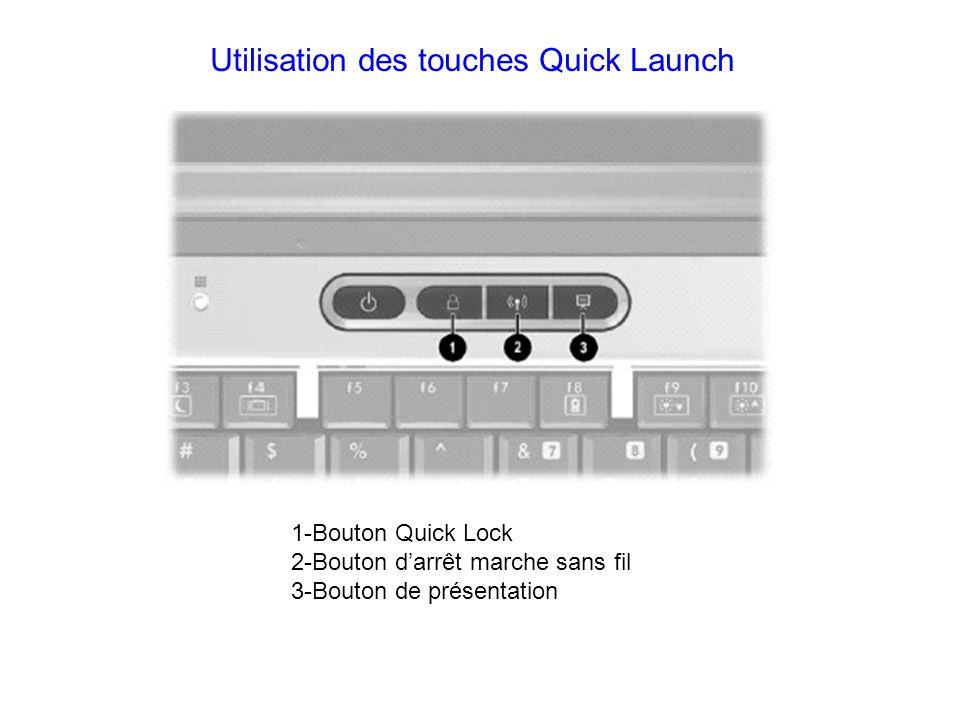 Utilisation des touches Quick Launch