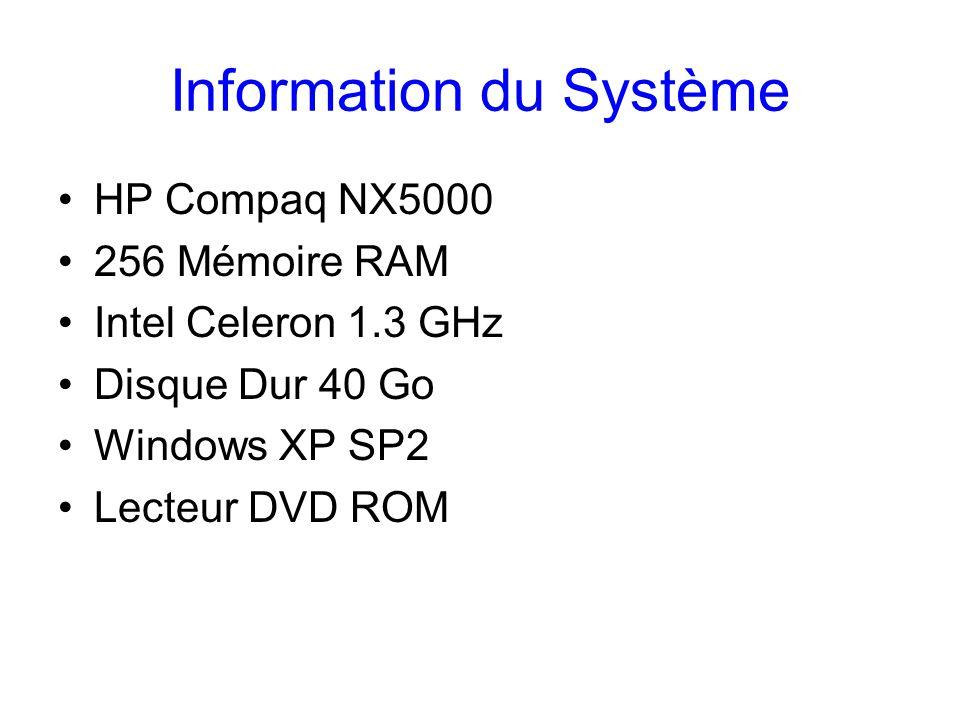 Information du Système