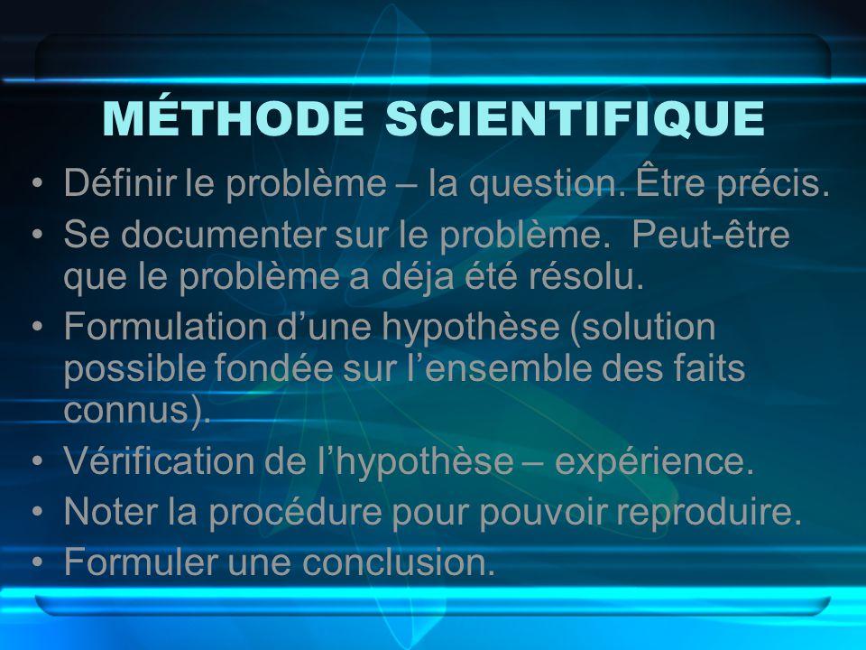 MÉTHODE SCIENTIFIQUE Définir le problème – la question. Être précis.