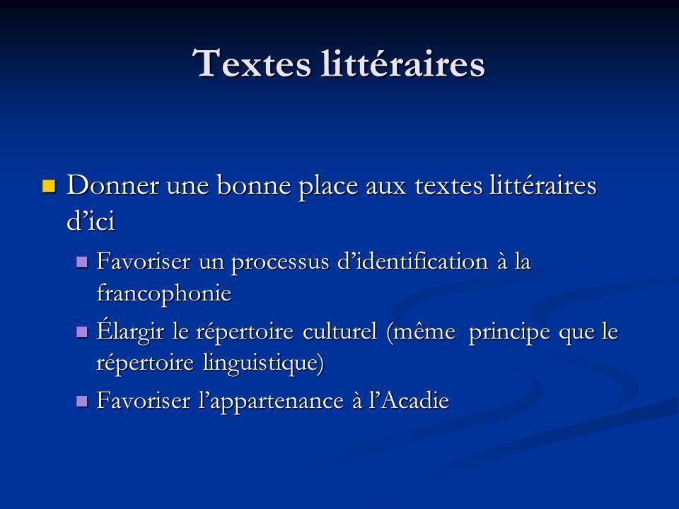 Textes littéraires Donner une bonne place aux textes littéraires d'ici