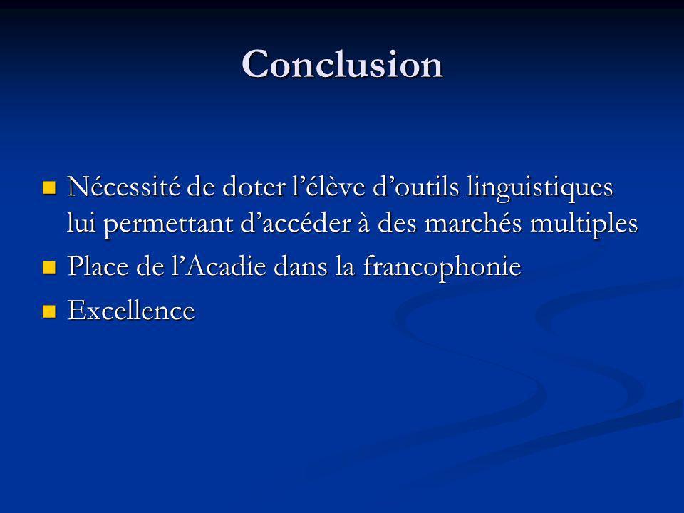 Conclusion Nécessité de doter l'élève d'outils linguistiques lui permettant d'accéder à des marchés multiples.