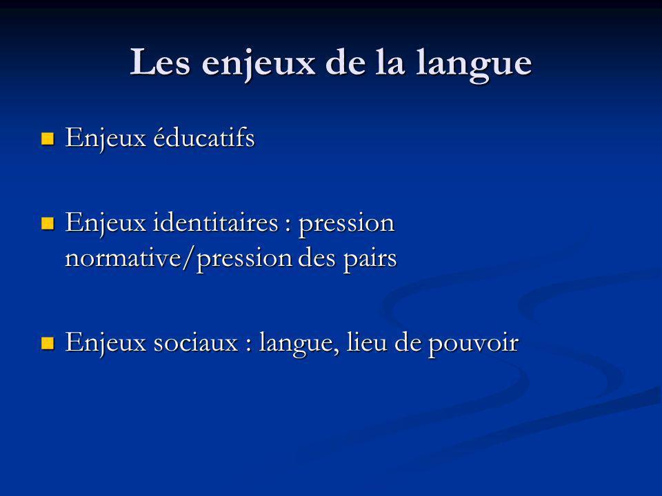Les enjeux de la langue Enjeux éducatifs