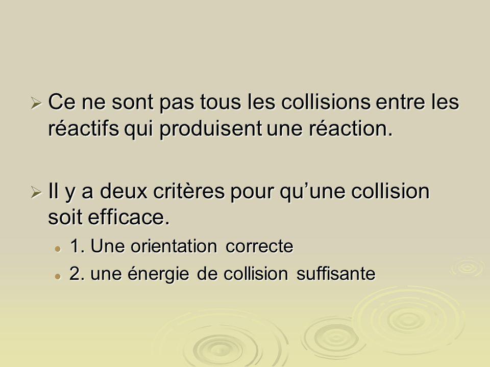 Il y a deux critères pour qu'une collision soit efficace.