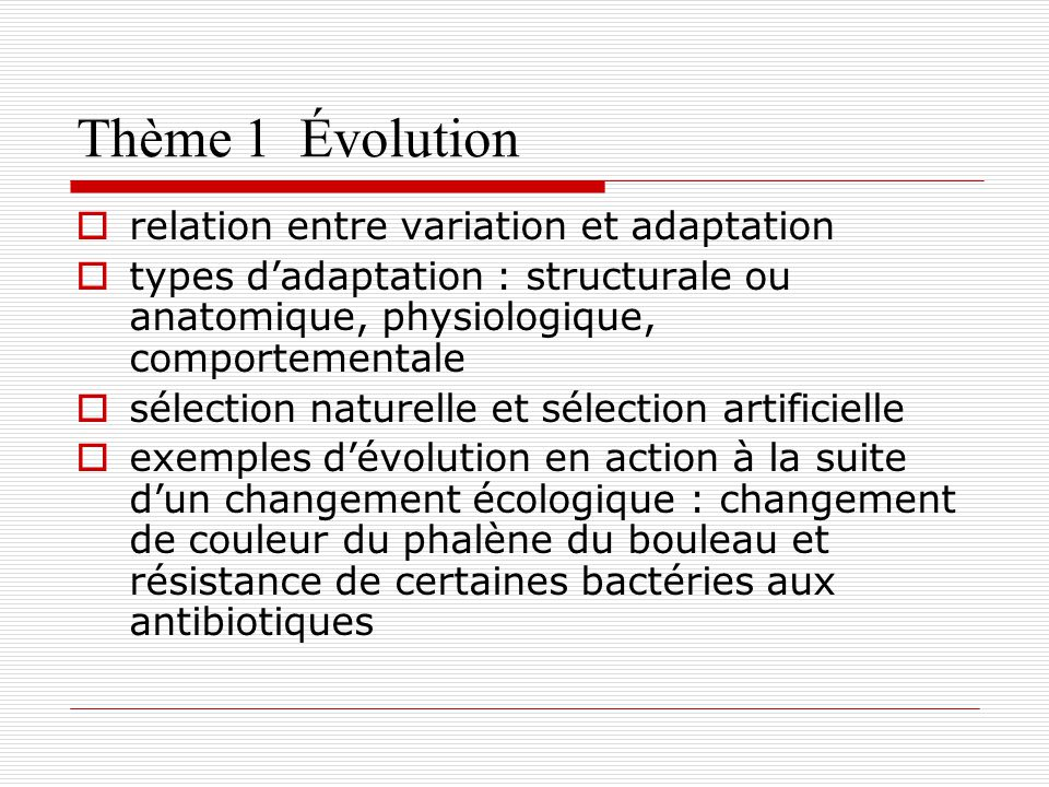 Thème 1 Évolution relation entre variation et adaptation