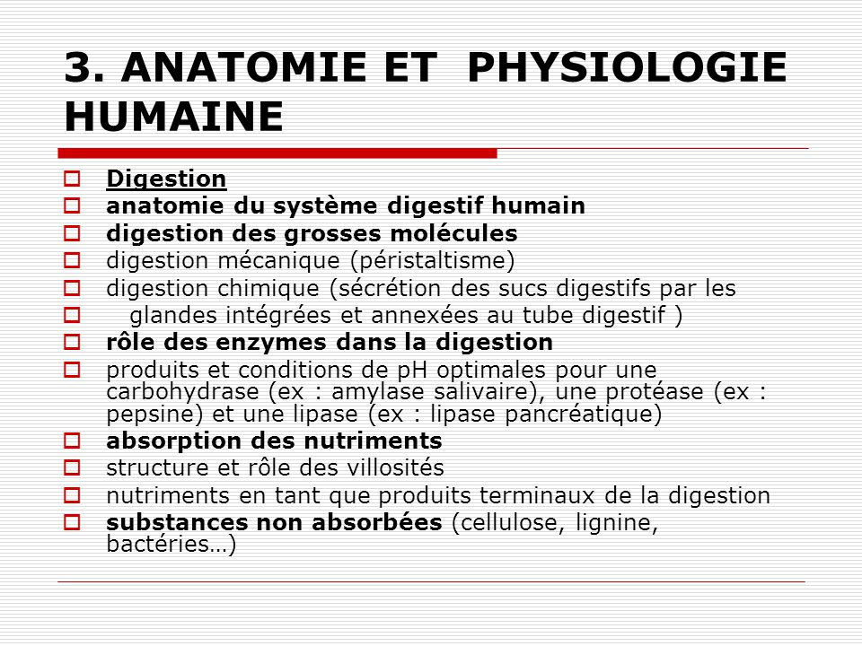 3. ANATOMIE ET PHYSIOLOGIE HUMAINE