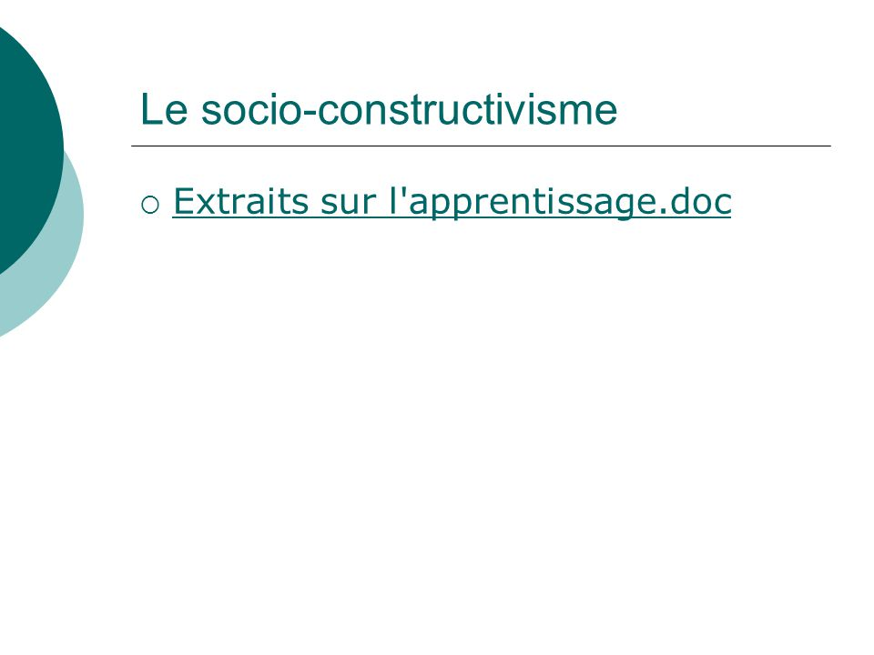 Le socio-constructivisme