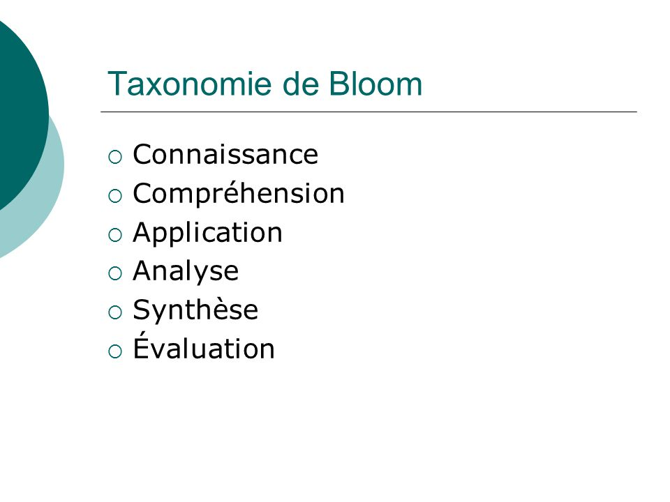 Taxonomie de Bloom Connaissance Compréhension Application Analyse