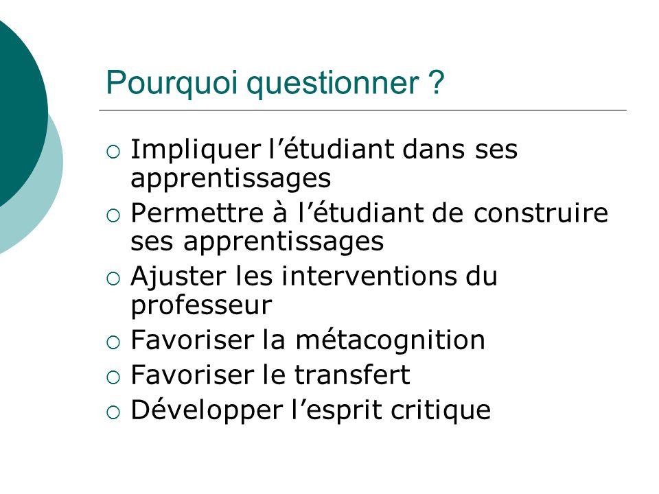 Pourquoi questionner Impliquer l'étudiant dans ses apprentissages