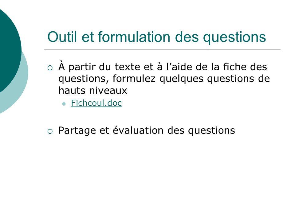 Outil et formulation des questions