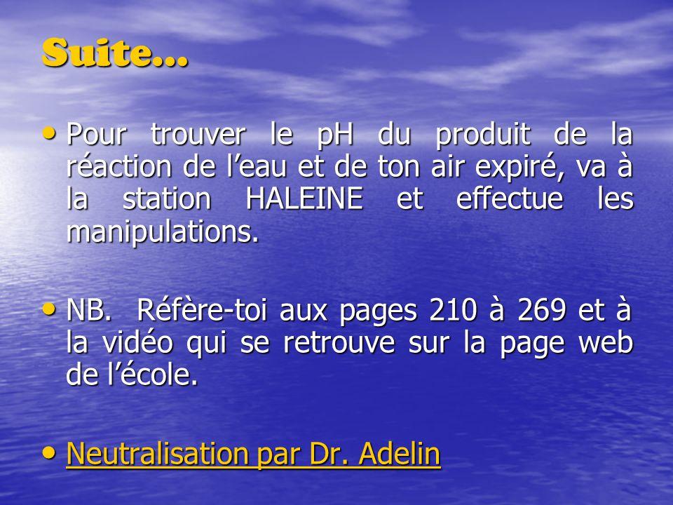 Suite… Pour trouver le pH du produit de la réaction de l'eau et de ton air expiré, va à la station HALEINE et effectue les manipulations.