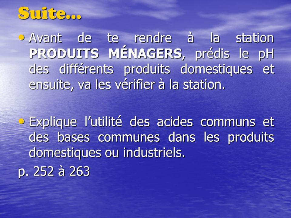Suite… Avant de te rendre à la station PRODUITS MÉNAGERS, prédis le pH des différents produits domestiques et ensuite, va les vérifier à la station.