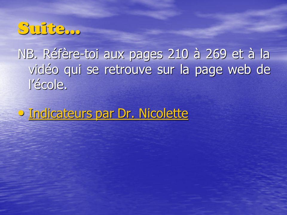 Suite… NB. Réfère-toi aux pages 210 à 269 et à la vidéo qui se retrouve sur la page web de l'école.