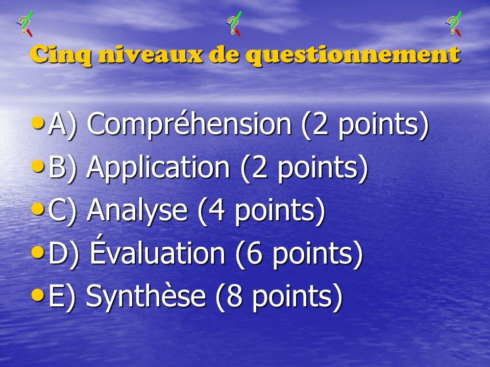 Cinq niveaux de questionnement