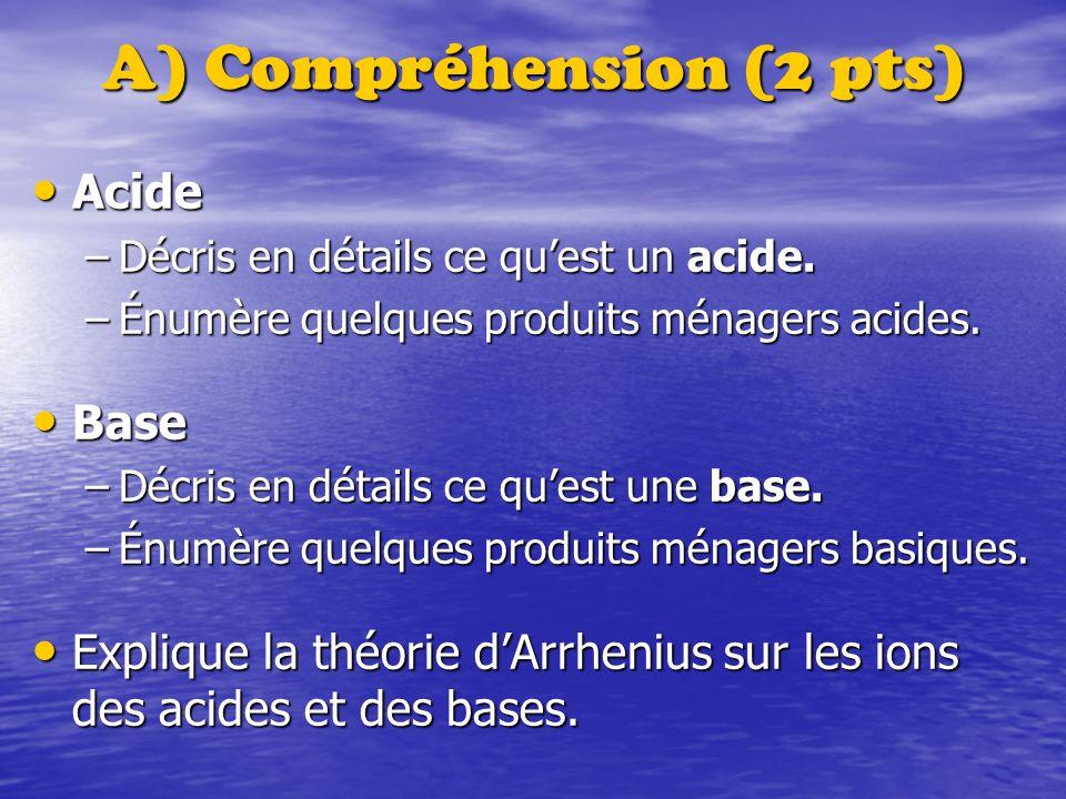 A) Compréhension (2 pts)