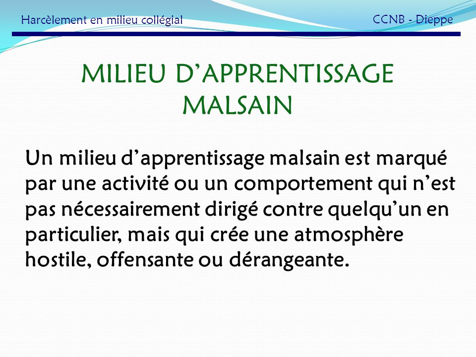 MILIEU D'APPRENTISSAGE