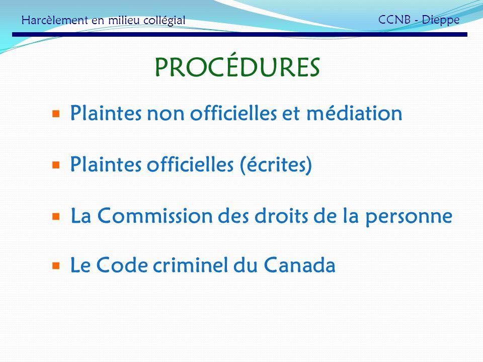 PROCÉDURES Plaintes non officielles et médiation