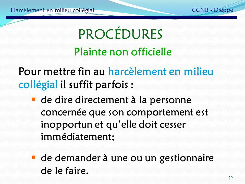 PROCÉDURES Plainte non officielle