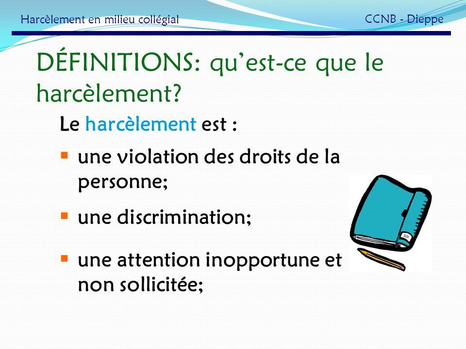 DÉFINITIONS: qu'est-ce que le harcèlement