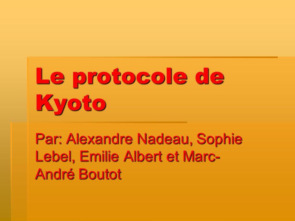 Le protocole de Kyoto Par: Alexandre Nadeau, Sophie Lebel, Emilie Albert et Marc-André Boutot