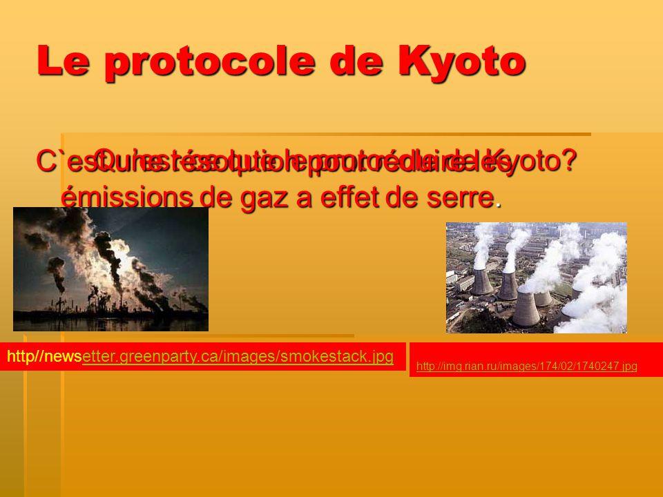 Le protocole de Kyoto C`est une résolution pour réduire les émissions de gaz a effet de serre. Qu'est-ce que le protocole de Kyoto