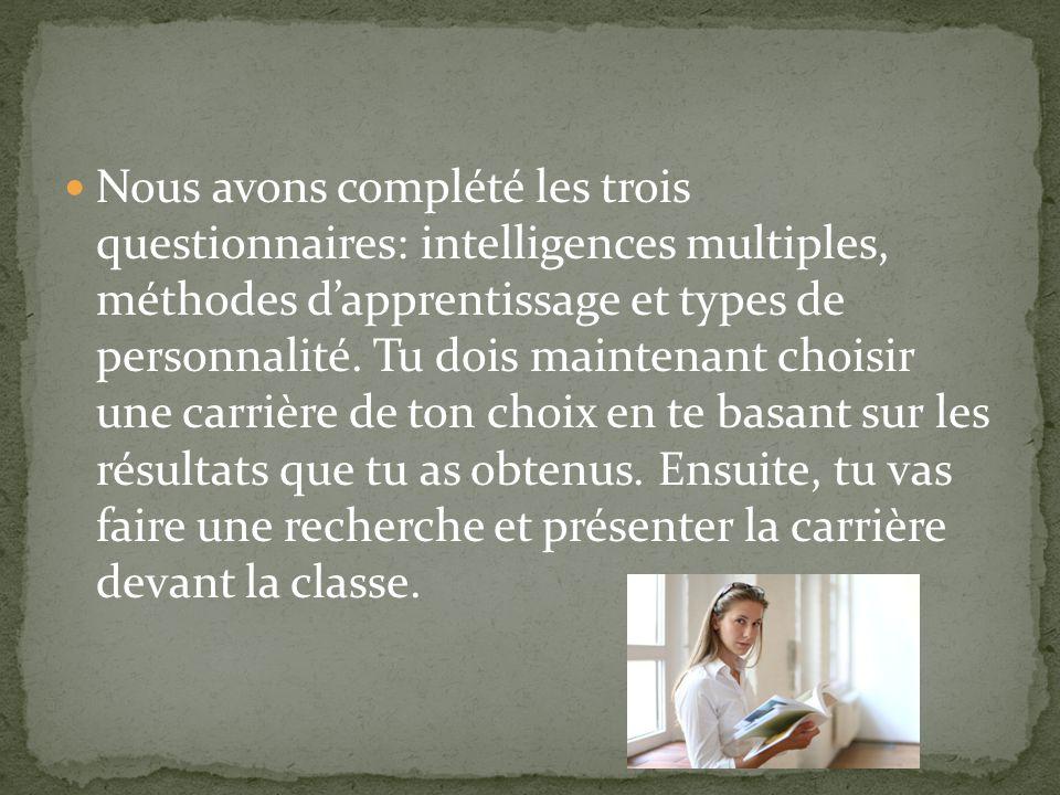 Nous avons complété les trois questionnaires: intelligences multiples, méthodes d'apprentissage et types de personnalité.
