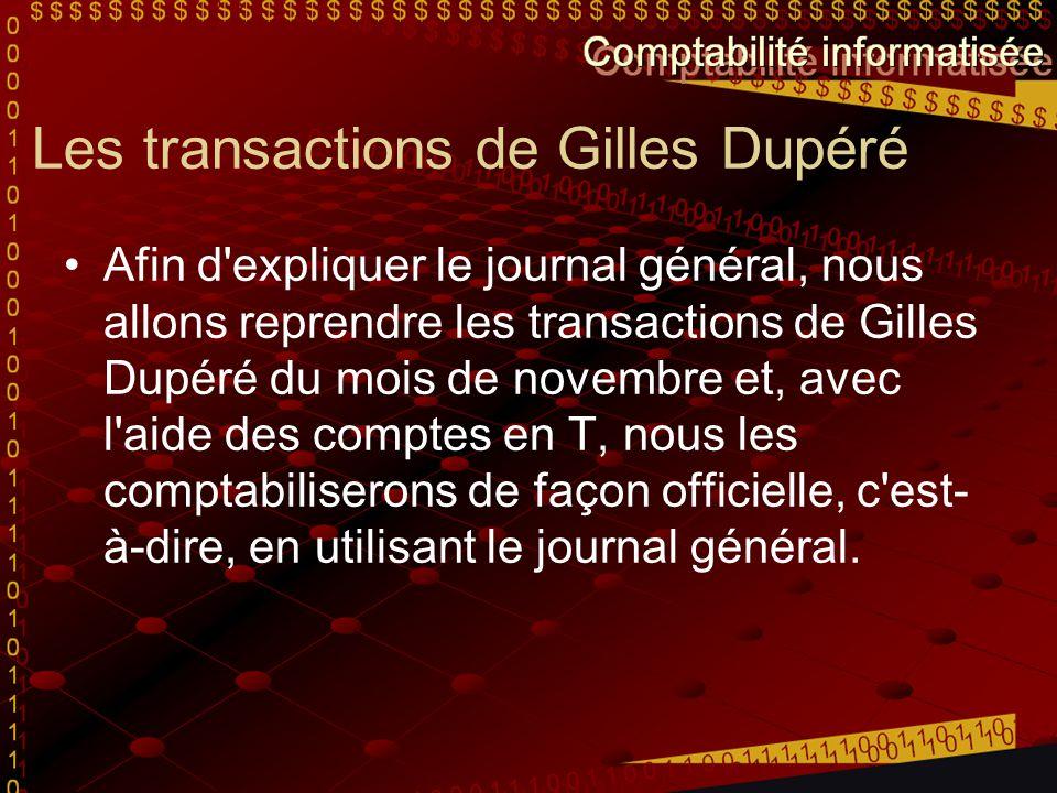 Les transactions de Gilles Dupéré