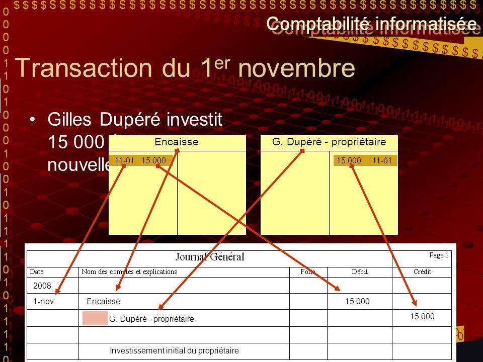 Transaction du 1er novembre