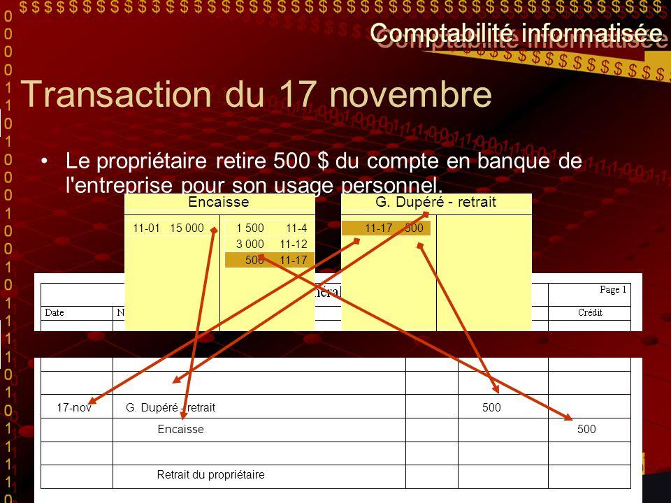 Transaction du 17 novembre