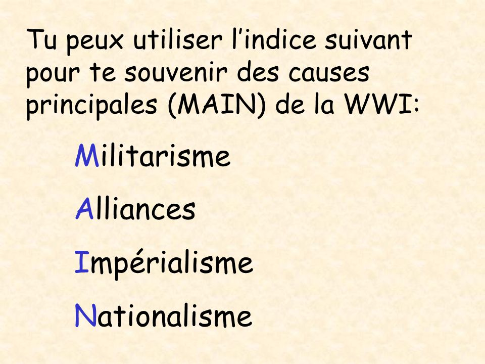 Militarisme Alliances Impérialisme Nationalisme