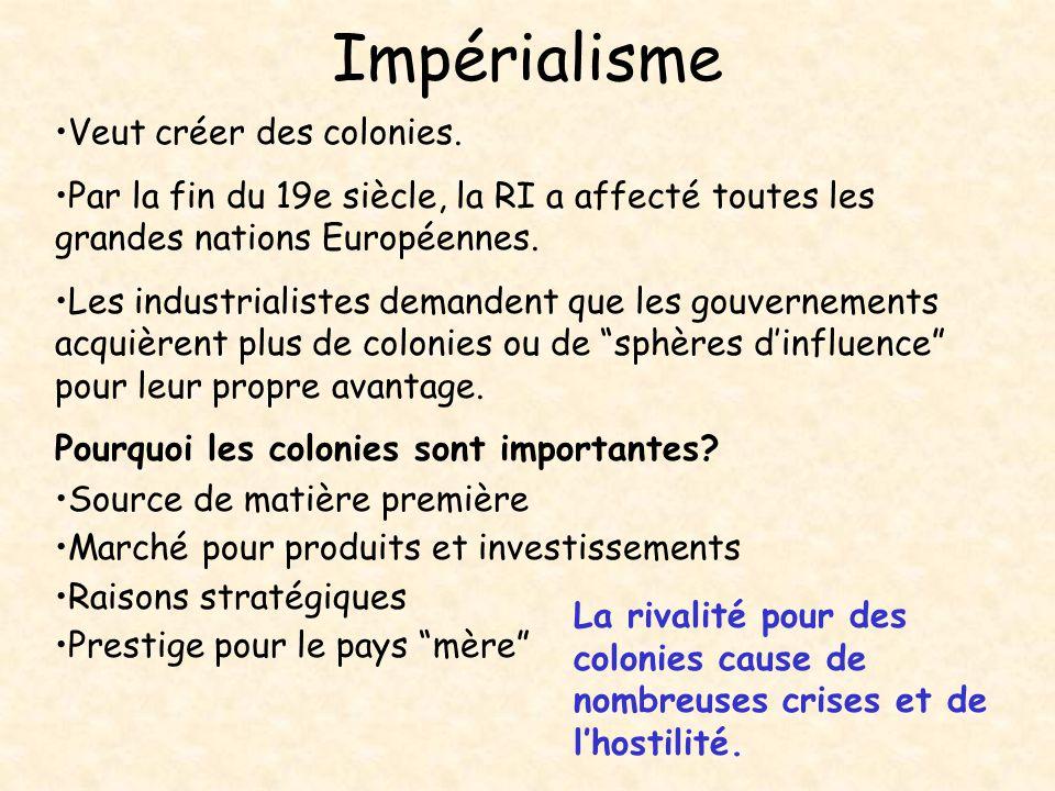 Impérialisme Veut créer des colonies.