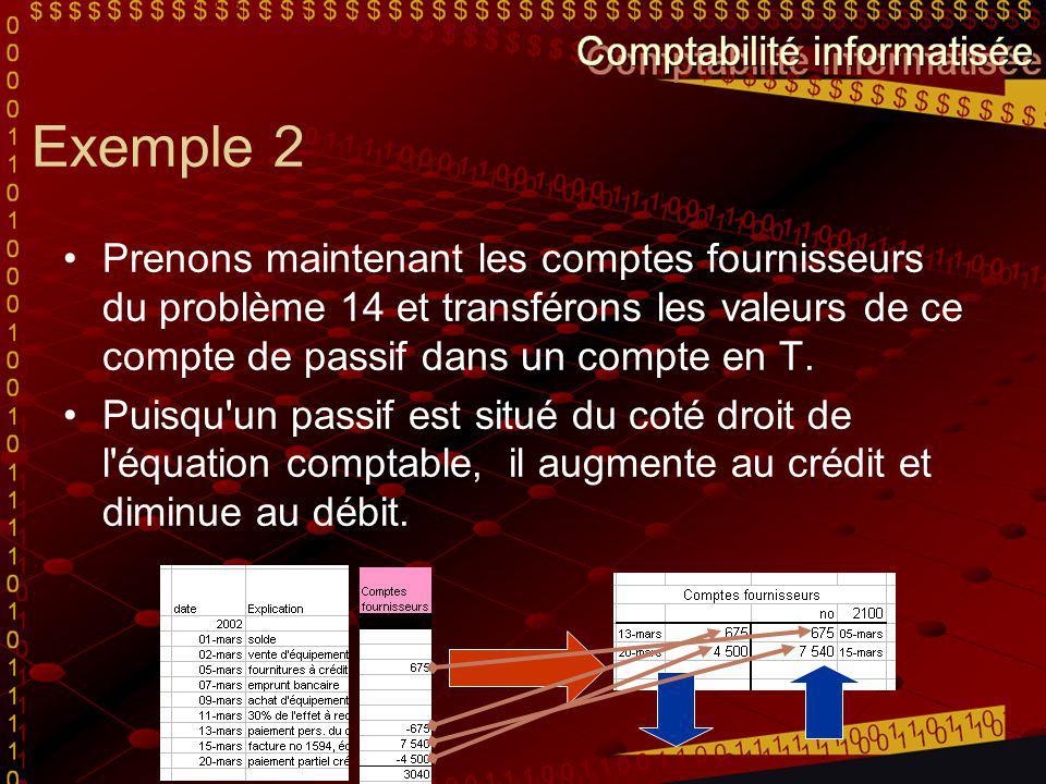 Exemple 2 Prenons maintenant les comptes fournisseurs du problème 14 et transférons les valeurs de ce compte de passif dans un compte en T.