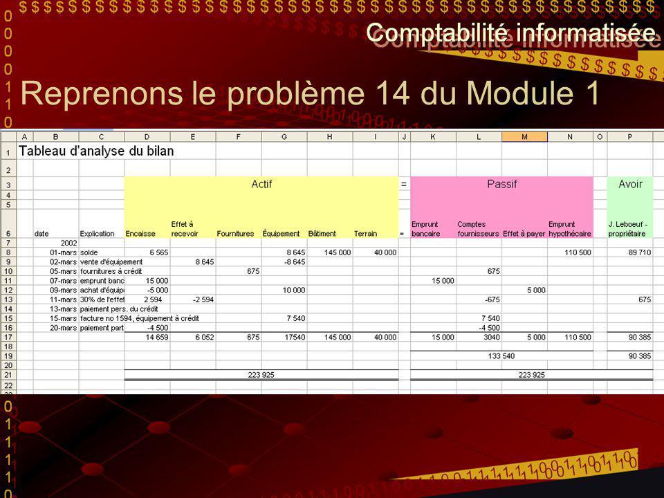 Reprenons le problème 14 du Module 1