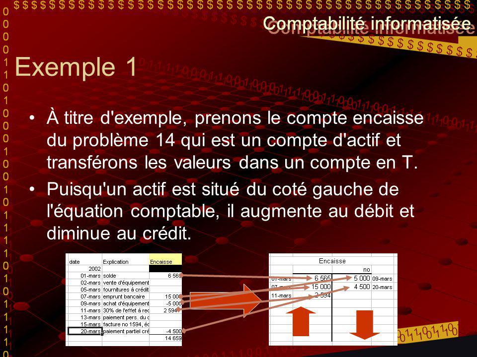 Exemple 1 À titre d exemple, prenons le compte encaisse du problème 14 qui est un compte d actif et transférons les valeurs dans un compte en T.