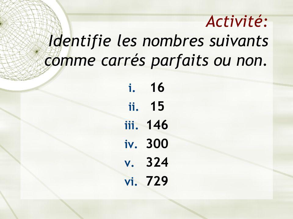 Activité: Identifie les nombres suivants comme carrés parfaits ou non.