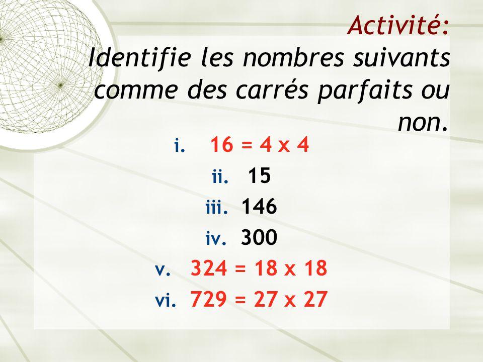 Activité: Identifie les nombres suivants comme des carrés parfaits ou non.