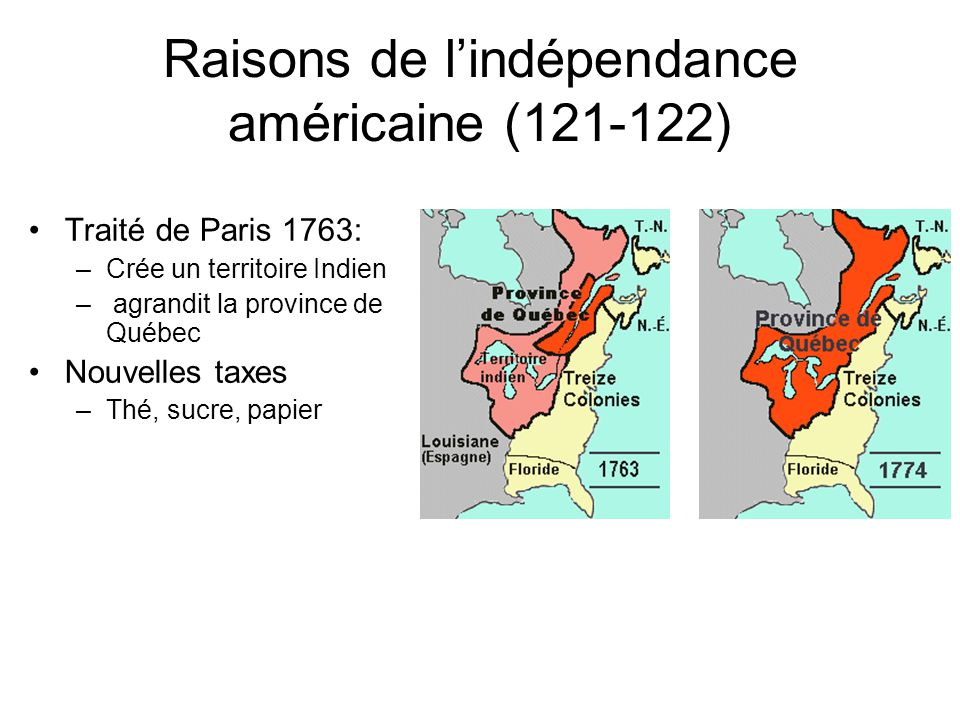 Raisons de l'indépendance américaine (121-122)