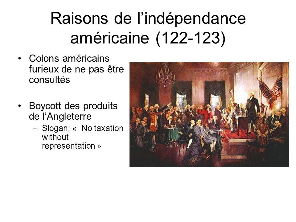 Raisons de l'indépendance américaine (122-123)