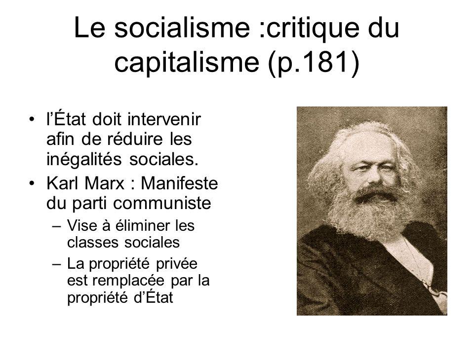 Le socialisme :critique du capitalisme (p.181)
