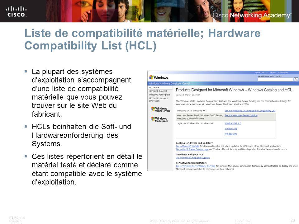 Liste de compatibilité matérielle; Hardware Compatibility List (HCL)
