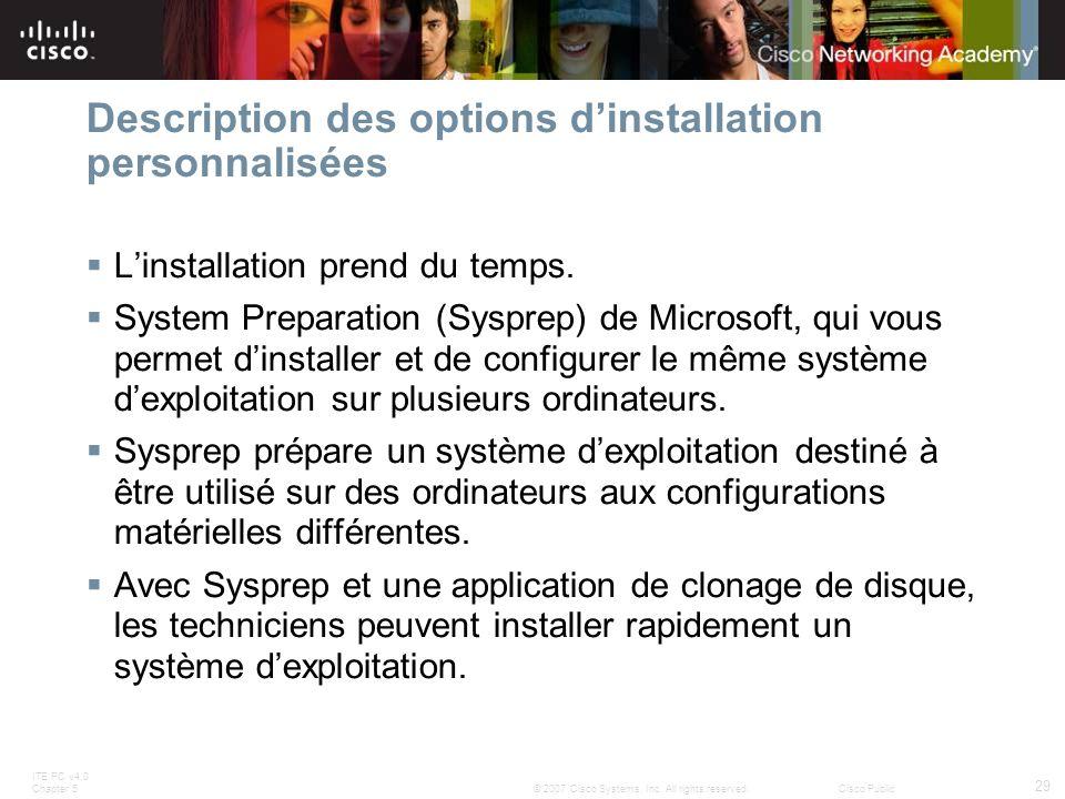 Description des options d'installation personnalisées