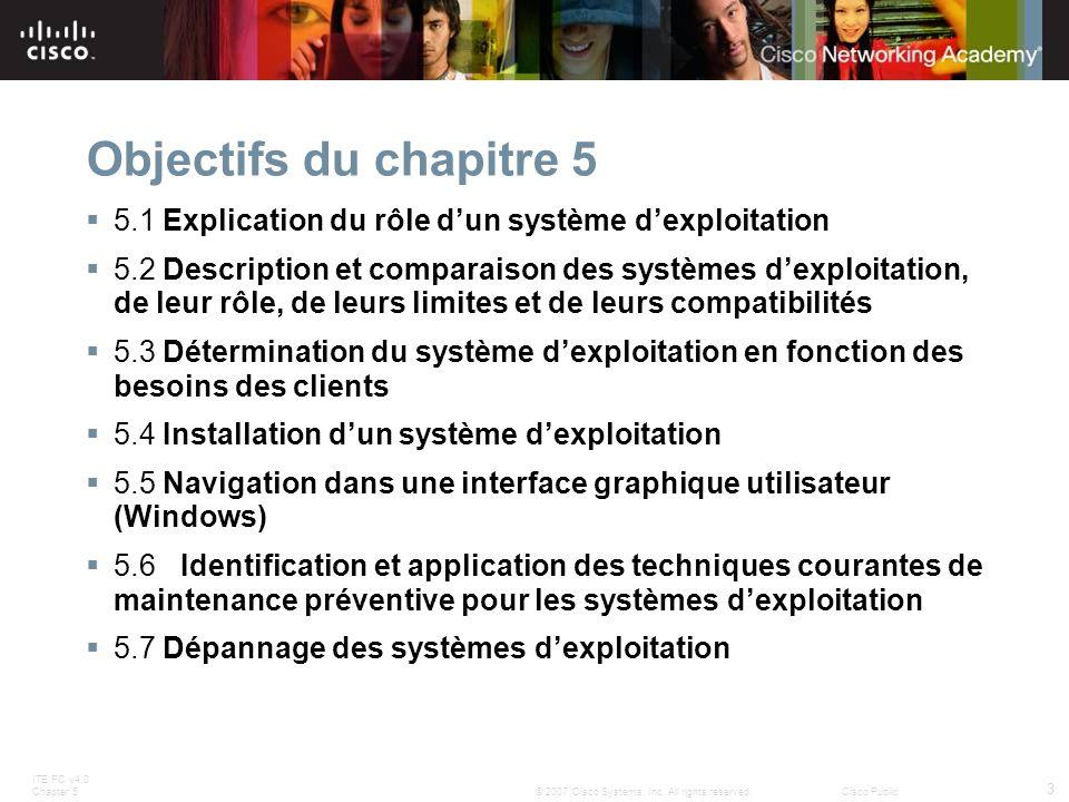 Objectifs du chapitre 5 5.1 Explication du rôle d'un système d'exploitation.