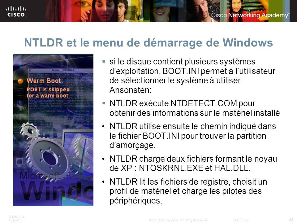 NTLDR et le menu de démarrage de Windows