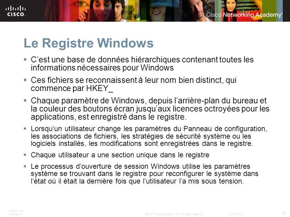 Le Registre Windows C'est une base de données hiérarchiques contenant toutes les informations nécessaires pour Windows.