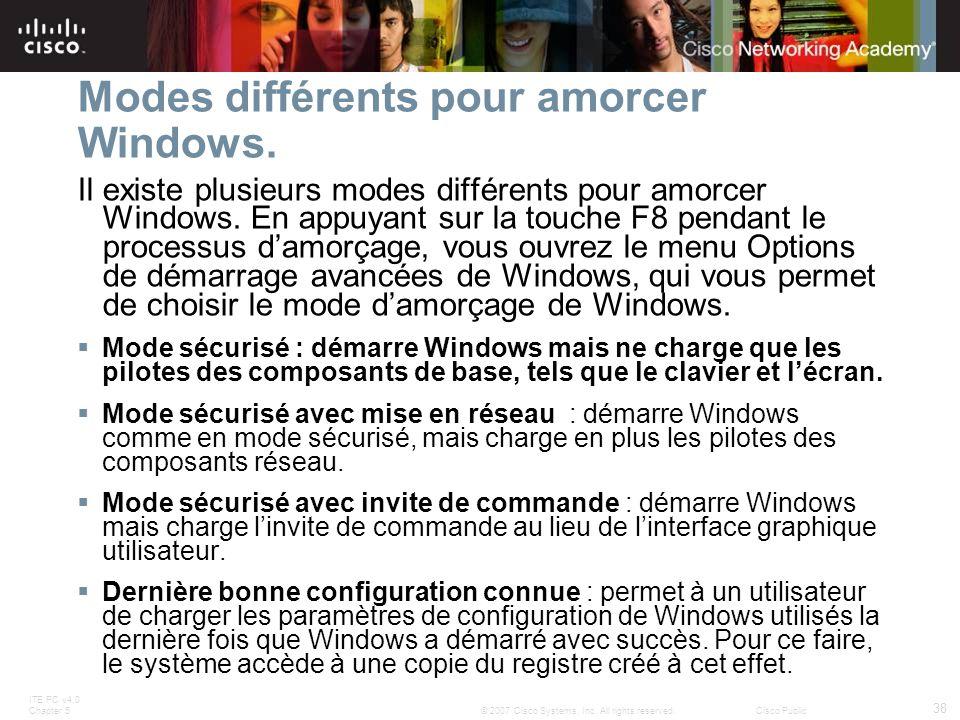 Modes différents pour amorcer Windows.