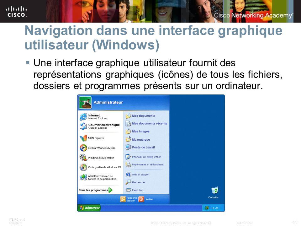 Navigation dans une interface graphique utilisateur (Windows)