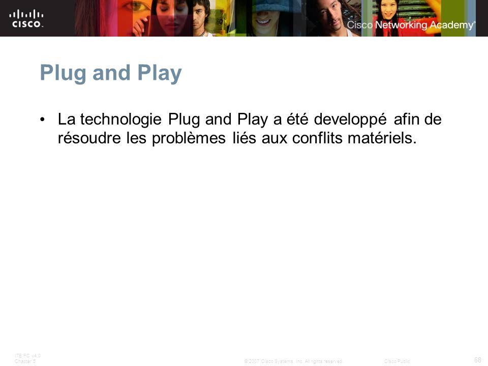 Plug and Play La technologie Plug and Play a été developpé afin de résoudre les problèmes liés aux conflits matériels.