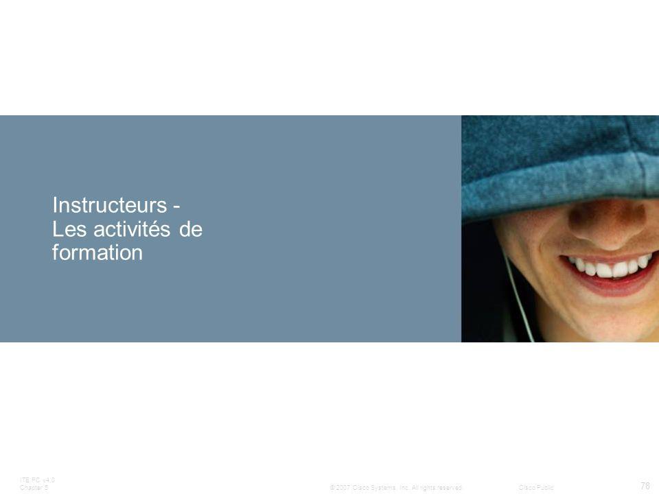 Instructeurs - Les activités de formation