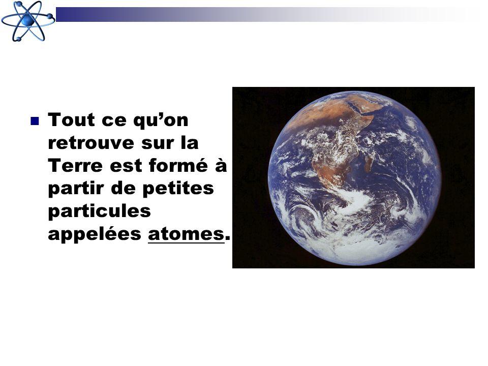 Tout ce qu'on retrouve sur la Terre est formé à partir de petites particules appelées atomes.