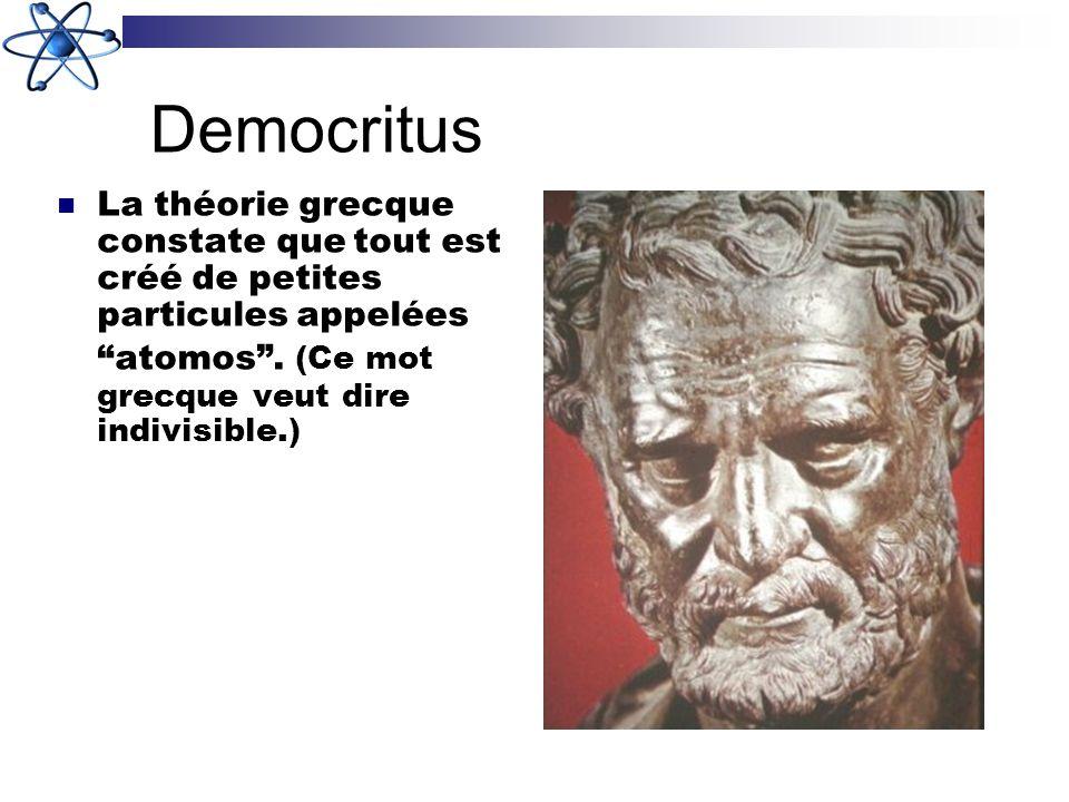 Democritus La théorie grecque constate que tout est créé de petites particules appelées atomos .